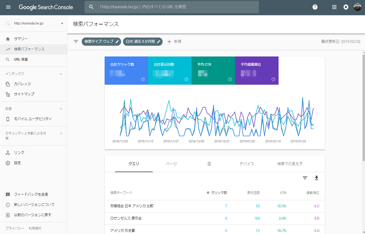 Google Search Console 管理画面